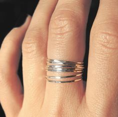 7 sterling silver teeny tiny delicate stacking rings / Everyday jewelry