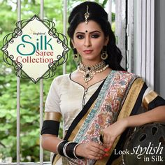 #Meghdoot #Cream And #Black Colour #Tussar #Silk Resham #Embroidered Saree RA6661_CREAMxBLACK Reflect your graceful personality with cream and black art tussar silk saree. Beautiful resham and zari embroidery depicting floral, animal and bird motif with patch order work is making this saree a masterpiece. As shown model wearing matching blouse is available in unstitched fabric form of 85cm. Slight variation in color may possible. Price: Rs2,650  Product Code: RA6661_CREAMxBLACK