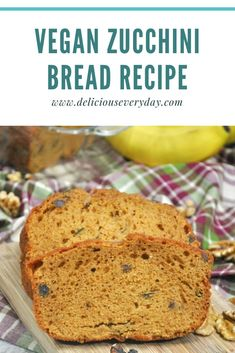 This Vegan Zucchini Bread is light and fluffy and its packed with flavor from ripe bananas cinnamon and crunchy walnuts. Plus its easy to make completely vegan and gluten-free. Bhg Recipes, Easy Holiday Recipes, Zucchini Bread Recipes, Vegan Zucchini, Vegan Gluten Free Desserts, Dairy Free Recipes, Vegan Recipes, Appetizer Recipes, Dessert Recipes