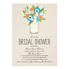 Floral Mason Jar Bridal Shower Custom Invitations