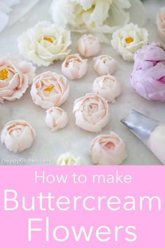 Making buttercream flowers elevate any dessert and making them is much easier than you think. The most important things to have are the right piping tips, buttercream that's the correct consistency and a little patience. A How To from Preppy Kitchen. Buttercream Flowers Tutorial, Piping Buttercream, Frosting Flowers, Cake Piping, Buttercream Flower Cake, Flower Cupcakes, Fondant Tutorial, Fondant Flowers, Fondant Rose