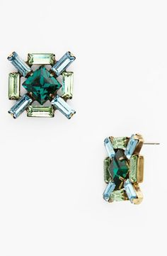 Bling,bling! Green and blue jeweled earrings