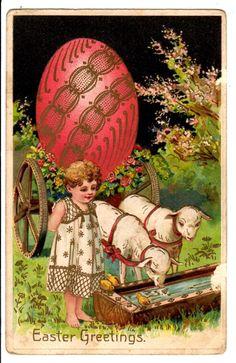 Vintage Easter Postcard Child Lambs Large Egg on Cart Gold Trim | eBay