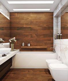 carrelage sol salle de bain effet bois, lambris mural en bois massif, vasque à poser et baignoire rectangulaire