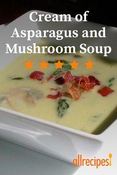 Cream of Asparagus and Mushroom Soup Creamed Asparagus, Asparagus And Mushrooms, Asparagus Recipe, Creamed Mushrooms, Stuffed Mushrooms, Stuffed Peppers, Mushroom Soup Recipes, Soup And Sandwich, Sandwich Recipes