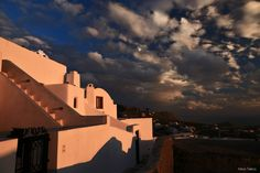 Stunning-View-Traditional-House-Exterior-Sunset-Pyrgos-Outdoor-Santorini-Summer-Greece