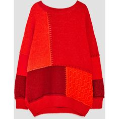PATCHWORK SWEATER - View all-KNITWEAR-WOMAN | ZARA United Kingdom ($66) ❤ liked on Polyvore featuring tops, sweaters, red sweater, red top, patchwork top and patchwork sweaters