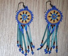 Artisan hand beaded tan leather Cobalt aqua blue green chandelier earrings hook