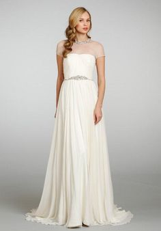 Ivory silk georgette sheath bridal gown with draped bodice and tulle illusion crystal collar neckline and chapel train | Hayley Paige | https://www.theknot.com/fashion/6300-anya-hayley-paige-wedding-dress