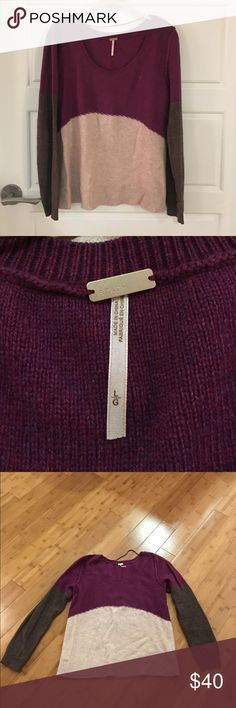 Free people sweater Great fall sweater perfect for layering. Warm wool for winter but light enough to wear into the spring and fall! Great maroon coloring. Im a size 4-6 and this fit perfectly. Barely worn! Free People Sweaters