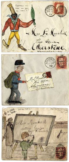 Hand-illustrated correspondence to Miss Monshall, postmarked between (auctioned at Grosvenor Philatelic Auctions in London) Envelope Lettering, Envelope Art, Hand Lettering, Letter Art, Letters, Letter Writing, Mail Art Envelopes, Blog Art, Love Mail