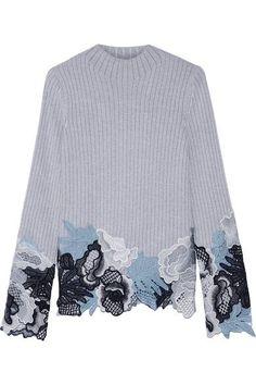 3.1 PHILLIP LIM Guipure Lace-Trimmed Mélange Wool-Blend Sweater. #3.1philliplim #cloth #knitwear
