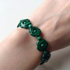 Malachite Bracelet. Real Genuine Semi Precious Bracelet. Artisan Flower Bracelet