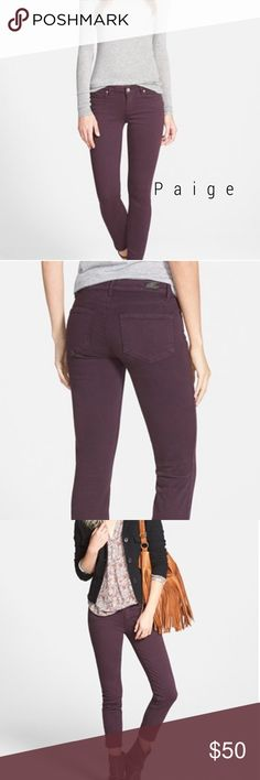 "Paige skinny jeans in autumn plum 😍 GORGEOUS mid-rise skinny jeans in a rich merlot wash imbue any casual outfit with cool, feminine charm. The ankle-grazing cut is perfect for showing off your footwear. Excellent condition! 31"" inseam; 7.5"" front rise; 14"" waist  Zip fly with button closure. Five-pocket style. 98% cotton, 2% spandex. Machine wash cold, tumble dry low. By Paige Denim; made in the USA of imported fabric. Paige Jeans Jeans Skinny"