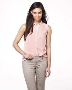 Summer 2013 Collection Shirt collar sleeveless blouse