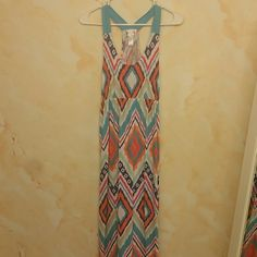 Summer dress Colorful racer back summer dress! Soft cotton worn once. Great dress! Great condition! Pretty colors! Dresses Maxi