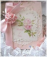 handmade Rose card ... sweet and feminine look ... pink and white ..  gorgeous silk ribbon rose .. print with rose posey ... doily ... gorgeous ...