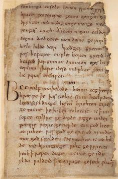 """Beowulf spoke …"" ('Beoƿulf maþelode …'): British Library Cotton MS Vitellius A XV, f. 169r Cotton_ms_vitellius_a_xv_f169r"