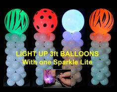One Sparkle Base lights a giant 3 foot balloon. https://usa.sparklelites.com/see-pricing-purchase-online.html