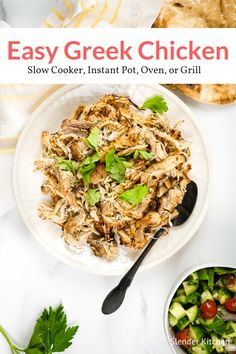 Greek Chicken with garlic lemon and oregano is delicious versatile and so easy to make. Slow Cooker Instant Pot or Stove Paleo Recipes, Slow Cooker Recipes, Crockpot Recipes, Chicken Recipes, Dinner Recipes, Greek Recipes, Healthy Recipes With Chicken, Slow Cooker Chicken Healthy, Chicken Cooker