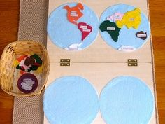 Montessori continents map-made out of felt and placed on a felt board! Love it!