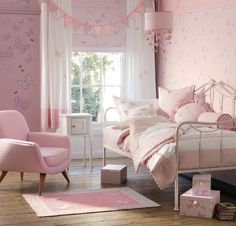Find sophisticated detail in every Laura Ashley collection - home furnishings, children's room decor, and women, girls & men's fashion. Pink Bedrooms, Girls Bedroom, Bedroom Decor, Bedroom Ideas, Childrens Bed Linen, Childrens Room Decor, Butterfly Bedroom, Pink Butterfly, Beige Bed Linen