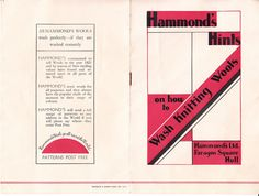 https://flic.kr/p/w9aWDM   Hammonds of Hull   Some miscellanea that came with the Hammonds rugmaking booklet.