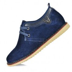 height increasing suede shoes for men with jeans soft bottom grow taller 6.5cm / 2.56inches elevator casual shoes