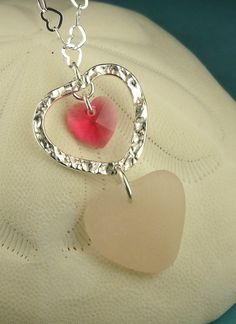 Sea Glass Necklace Heart Rare Pink Sterling by seaglassgems4you, $75.00