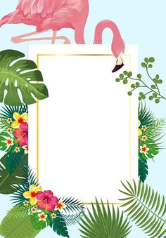 Pink flamingo with tropical palm leaves frame invitation card ideal for weddings or beach party Graduation Invitation Cards, Baby Shower Invitation Cards, Lace Wedding Invitations, Wedding Cards, Party Invitations, Floral Invitation, Corporate Invitation, Luau Birthday Invitations, Diy Wedding