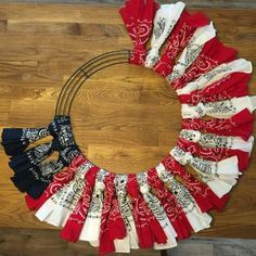 Red, White and Blue Bandana Flag Wreath Craft Idea - picture this with green bandanas around and a red bandana bow.Red, White and Blue Bandana Flag Wreath Craft Idea I love decorating our home for the of July so it's no surprise that I would have a Patriotic Wreath, Patriotic Crafts, July Crafts, Summer Crafts, Patriotic Party, Americana Crafts, Cd Crafts, Fabric Crafts, Fourth Of July Decor