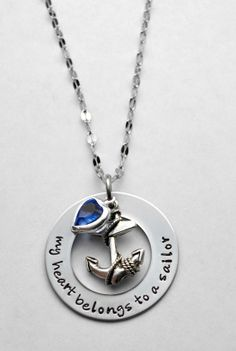 My heart belongs to a sailor - Navy wife - Naval wife - Sailor's Wife - Sailor - Nautical necklace - Anchor necklace