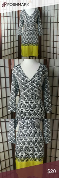 """AA STUDIO AA 3/4 Sleeve  Sheath Dress Size 14P Pre-owned gently worn  AA STUDIO AA Size 14P 3/4 sleeve sleeve style  Sheath Dress style Shades of black white and green color Made of 95% polyester and 5% spandex  Measurements approximate  Pit to pit 20.5"""" Waist 34-38"""" stretchable Shoulder to hem 37.5""""  See photos for more details AA STUDIO AA  Dresses"""