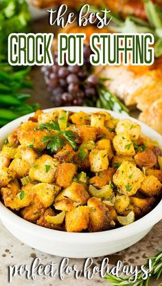 This crock pot stuffing is a mix of bread cubes, sauteed vegetables and seasonings, all placed in the slow cooker to create a flavorful and delicious side dish. Thanksgiving Recipes, Holiday Recipes, Dinner Recipes, Holiday Side Dishes, Main Dishes, Sauteed Vegetables, Veggies, Large Crock Pot, Slow Cooker Creamed Corn