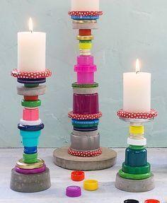 Super tolle DIY Idee aus Flaschendeckeln l Kerzenständer selber basteln