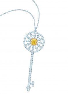 Tiffany Keys yellow and white diamond star key in platinum and 18 karat gold