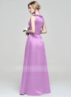 A-Line/Princess Scoop Neck Floor-Length Flower(s) Zipper Up Regular Straps Sleeveless No Other Colors Spring Summer Fall General Plus Satin Bridesmaid Dress