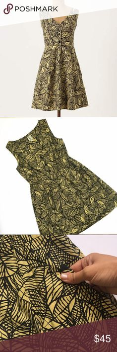 """Weston Wear Emerging Leaves dress Size 8 - Weston Wear - """"Emerging Leaves"""" dress. Gorgeous muted mustard 100% cotton with black leaf pattern. Three functional buttons at chest. Skirt portion is fully lined. Hidden side zipper. POCKETS! Underarm to underarm 18"""". Length 36"""".  In excellent condition. Smoke and pet free home. Anthropologie Dresses"""