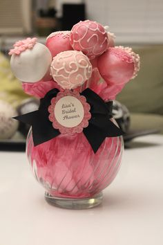 Cake Pops w/ Vase. Good idea for wedding shower.