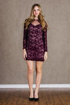 women's long sleeve burgundy wine lace overlay cocktail party dress