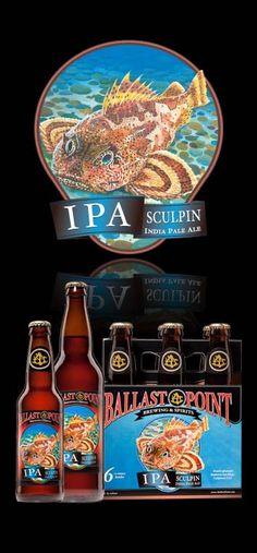 Sculpin IPA - Ballast Point Brewing & Spirits - It showcases bright flavors and aromas of apricot, peach, mango & lemon. The lighter body also brings out the crispness of the hops. Brewing Co, Home Brewing, Ballast Point, Best Craft Beers, Beer Brewery, Beer Packaging, Beer Tasting, Beer Recipes, Beer Lovers