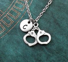Handcuffs Necklace SMALL Personalized Necklace by MetalSpeak