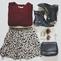 Love the skirt sweater look plus those booties Daily Fashion, Teen Fashion, Fashion Outfits, Womens Fashion, Fashion Ideas, Look Plus, Mode Inspiration, Passion For Fashion, Dress To Impress