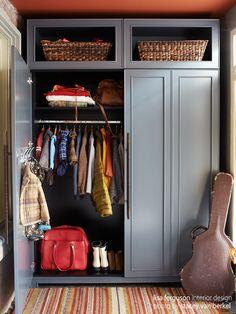 Riverdale Entry Mudroom | Custom Armoire closet  Lisa Ferguson Interior Design   >>>> PERSONALIZED, SENTIMENTAL and THOUGHTFUL + INNOVATIVE PROBLEM SOLVING full service interior & furniture design firm in Toronto, Canada <<<< www.lisafergusoninteriordesign.com