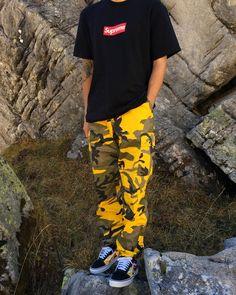 Supreme Box Logo Tee || Rothco Yellow Camo Cargo Pant || VANS Old Skool Flames
