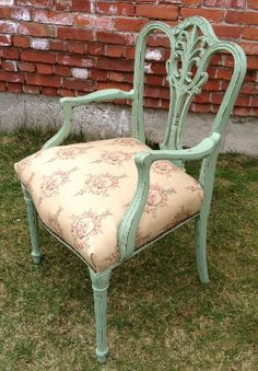 Vintage chalk painted furniture chair I like this color for the chest of drawers in the bedroom.