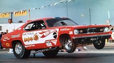 """Tom """"The Mongoose"""" McEwen in the Hot Wheels Funny Car. Funny Car Drag Racing, Nhra Drag Racing, Funny Cars, Auto Racing, Hot Wheels Cars, Hot Cars, Snake And Mongoose, Plymouth Duster, Plymouth Barracuda"""