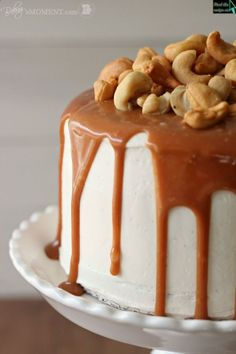 Vanilla Malt Cake with Salted Caramel and Cashews