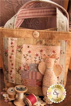 Patchwork Bag and Scissor Angel Pattern: This darling bag designed by Little Green Cottage finishes to 10