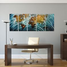 "Amazon.com: Home - Blue World Map Large Metal Wall Art Decor - Set of 5 Panels Abstract Decorative Contemporary Sculpture - 64"" x 24"": Home & Kitchen"